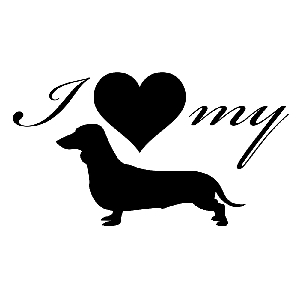 I Love My Dachshund Weiner Dog Silhouette Heart Vinyl Sticker Car Decal